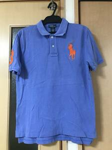 ☆定番ブランド☆ ポロ ラルフローレン POLO RALPH LAUREN ポロシャツ 半袖 シャツ ビックポニー 刺繍 ワンポイント 青 ブルー e16