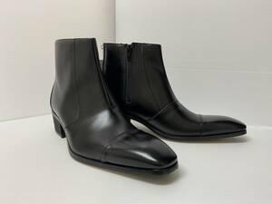 ★お買い得!ユキコハナイのスッキリデザインのブーツ 天然皮革 ブラック 25.5cm EEE ゆったり設計 安心の日本製