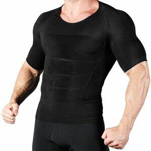 加圧シャツ 加圧インナー メンズ インナーシャツ 筋トレ インナーマッスル トレーニング 半袖猫背矯正 姿勢矯正 Lサイズ ブラック Q1375