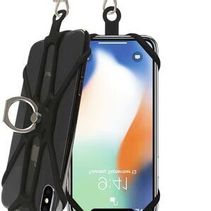 スマホネックストラップ シリコン製 4.0-6.5インチの携帯電話適用 リング付き 紛失/落下防止 スタンド機能 日常 旅行アウトドアなど適応