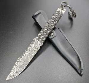 処分品 1468773 サバイバルナイフ シースナイフ アウトドア用小型ナイフ サバイバル コロンビア ダマスカス鋼模様