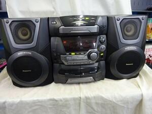 FG825 【動作O.K】Panasonic パナソニック SA-AK25 SB-AK25 CDステレオシステム 5CDCHANGER CD.カセットO.K 中古品