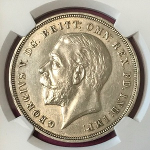 ★1935 イギリス クラウン銀貨 ジョージ5世 NGC AU DETAILS CLEANED