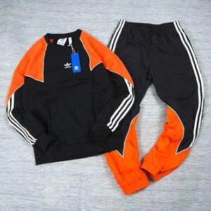 新品 adidas originals アディダス オリジナルス 上下セット トレーナー ナイロンパンツ トレフォイル セットアップ M 黒/オレンジ L817