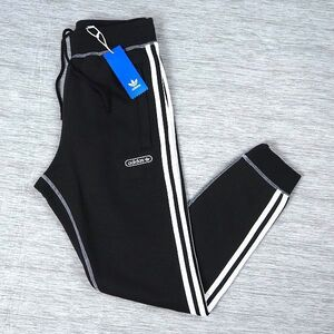 新品 adidas originals アディダス オリジナルス 秋冬 3ストライプス スウェット ジョガーパンツ 裏起毛 テーパード L ブラック L808