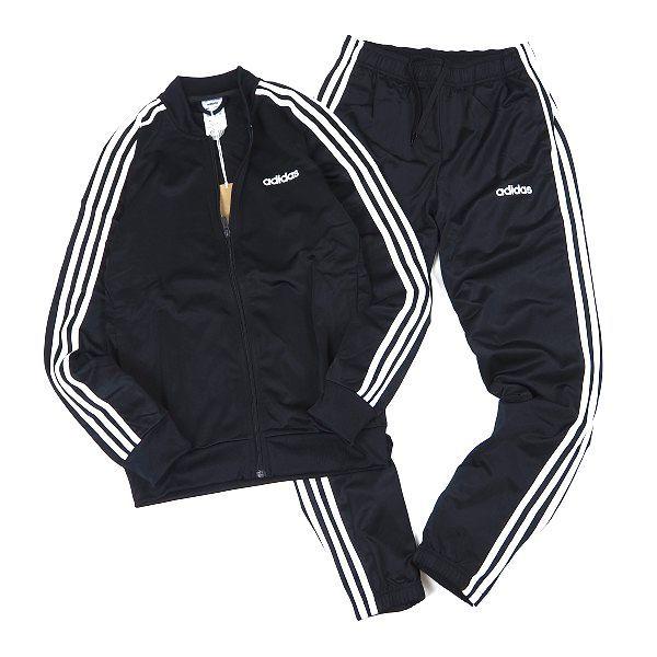新品 adidas アディダス 上下セット 3ストライプス トリコット ジャケット パンツ ジャージ テーパード 裏起毛 セットアップ 2XO 黒 L997