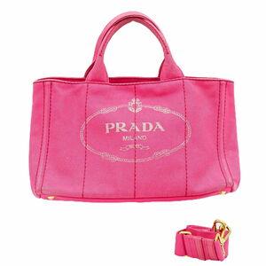 本物 プラダ PRADA カナパ L 2WAY ショルダーバッグ トートバッグ ハンドバッグ キャンバス ピンク 1BG642