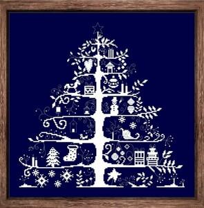 クロスステッチキット クリスマスツリー 一色刺し 38×37cm 刺繍