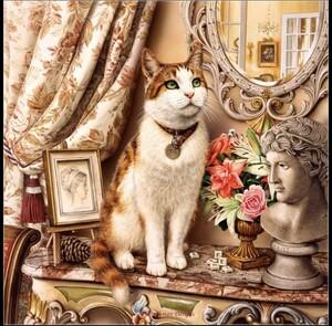 クロスステッチキット 高貴な猫 14CT 33×33cm 刺繍キット ネコ ねこ