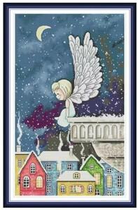 クロスステッチキット 雪降る街に舞い降りた天使 14CT 刺繍キット