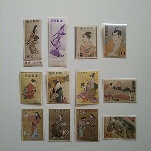 趣味週間切手 見返り美人、 月に雁等12種