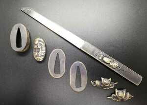 小柄 刀付/刃なし 縁頭 目貫 切羽 銅地 日本刀装具