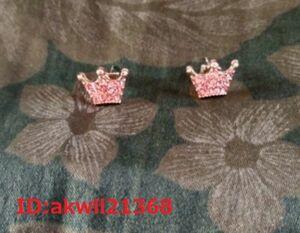 女性のためのピンクゴールドのイヤリング女性のための王冠のジュエリー