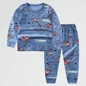 新品 好評 上下セット パジャマ H-F5 (ブル-(恐竜), 140) 綿100% 男の子 長袖 トップス パンツ 子供服 カジュアル 女の子