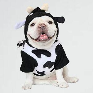 未使用 新品 ドッグウェア COLOGO犬服 X-NP 記念撮影 フレンチブルドッグ服(XXL) パ-カ- 秋冬用 牛柄 フ-ド付き 可愛い