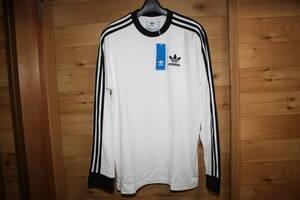 未使用アディダスadidas オリジナルス メンズL 白x黒 3本線長袖Tシャツ 3ライン ロンT ED5959  送料無料即決