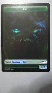 え緑Foil 猫・トークン 1枚(4枚在庫s 英 良品 M21)/Cat Token(MTG /基本セット2021/Core Set 2021/)