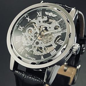 【新品・未使用】機械式腕時計クロノグラフ正規品アンティーク純正クオーツ黒スケルトン ユンハンス ラドー ウオッチ シルバー ウイナー