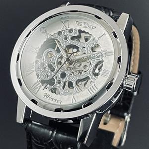 【新品・未使用】機械式メンズ腕時計クロノグラフ正規品アンティーク純正クオーツ スケルトン 金属カシオ革PRO TREK シルバー白ウイナー