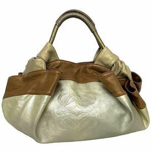 ロエベ ハンドバッグ ナッパアイレ ゴールド ブラウン アナグラム 309 97 105 美品 トートバッグ レザー