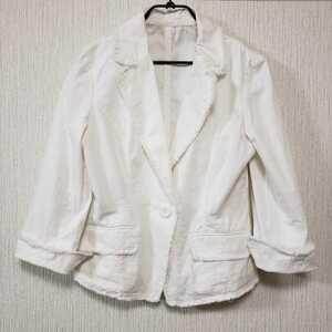 送料無料 BIRD DIRECT フリンジ コットン テーラードジャケット 9号 Mサイズ ホワイト 白 ジャケット