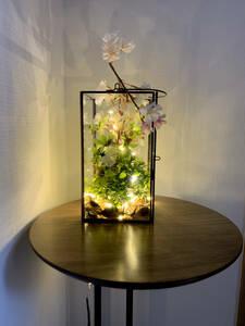 アートフラワーランタン(さくら+アートリーフ(造花)・LED照明付き)