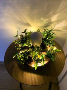 アートフラワーキャンドル(リーフ(造花)+松ぼっくり+コルク・LED照明付き)
