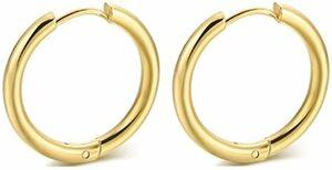 Gold 13mm swars フープピアス ピアス リングピアス 男女兼用 両耳 2個 金属アレルギー対応 シルバー ゴールド