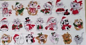 ロラライハリス クリスマスキャット Kitties in Row 猫 レア USコットン ハンドメイド