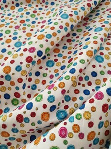 ロラライハリス Button Dots 白地 USAコットン カラフル ボタン
