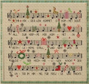クロスステッチキット■クリスマスソングの楽譜■14カウント 可愛い 刺繍キット■初心者 初級 クリスマス ツリー クリスマスキャロル 簡単