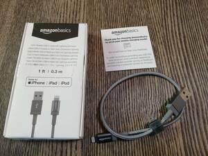 Amazonベーシック ライトニングケーブル ナイロン編組 USB MFi認証済 iPhone充電ケーブル ダークグレー 0.3m ※未使用