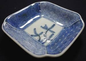 清朝期 景徳鎮古窯 最高級 染付 祥瑞若松八宝紋 茶豆皿 古茶器 陶磁器研究