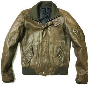 訳あり(袖色褪せ)/良好!◆Harlem Rounge ピッグスキン 春秋用 レザージャケット◆Mサイズ(身長168-170センチ位)