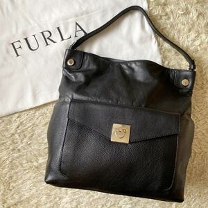 FURLA フルラ ワンショルダーバッグ トートバッグ ハンドバッグ A4可 肩掛け可 金具 レザー 革 ブラック 黒 オニキス