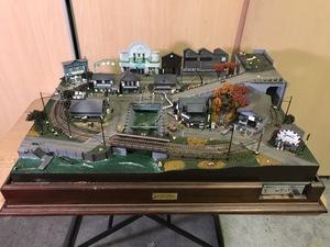 ※ジャンク品※ 直接引取限定 ジオラマ 昭和ふるさと鉄道 秋 夕焼けの街灯り 完成板鉄道風景模型