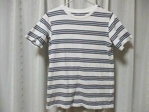 ユニクロ 白 紺 ボーダー 半袖 Tシャツ 150