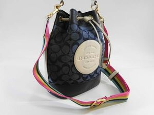 【新品 未使用 93 s】 COACH コーチ 巾着 バッグ ショルダー付き デニム 青 ブルー レディース メンズ から贈物に 参考定価3.5万円