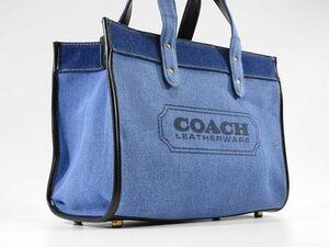 【新品 未使用 14 s】 COACH コーチ トート バッグ キャンバス ブルー ポーチ ショルダー付き レディース メンズ 両方OK 参考定価3.5万円