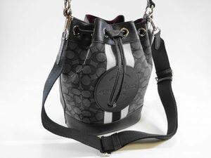 【新品 未使用 120 s】 COACH コーチ 巾着 バッグ ショルダー付き デニム ブラック レディース メンズ から贈物に 参考定価3.5万円