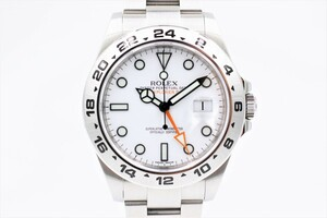 【ロレックス】 腕時計 エクスプローラーⅡ 216570 ホワイト SS 梨地バックル ランダム 自動巻き 中古品
