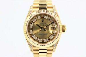 【ロレックス】 腕時計 デイトジャスト 69238MA YG ミリヤード ラグダイヤ シャンパン アラビア レディース 自動巻き 中古品