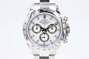 【ロレックス】 腕時計 デイトナ 116520 SS ホワイト クロノグラフ ランダム 梨地バックル 自動巻き 中古品