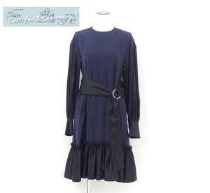 新作 未使用 完売 ADEAM/FOXEY ドレス ワンピース XS ネイビー×ブラック コットンBLEND ベルト付 '21年商品 42078