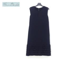 FOXEY ニットドレス ワンピース ペタルヘム 38 ブラック アセテートBLEND 裾フリル '20年8月DM掲載 41353