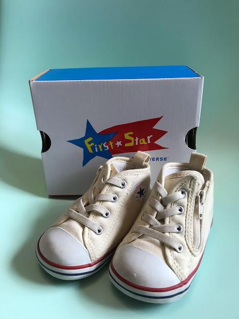 【良品】コンバース ベビーシューズ 13㎝ ベージュ 子供靴 CONVERSE BABY ALL STAR