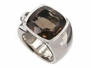 ショーメ リアン スモーキークォーツ リング ラージモデル #57 17号 K18WG ホワイトゴールド 色石 ブラウン 指輪 中古 送料無料
