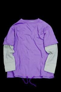BEAMS BOY ビームスボーイ 18SS レイヤードクルーネックTシャツ 13-14-0005-101 ONE SIZE パープル/グレー 長袖 カットソー lc23829