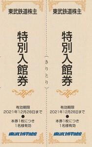 新着★東武鉄道株主★東武博物館★特別入館券★2枚★送料63円~★即決