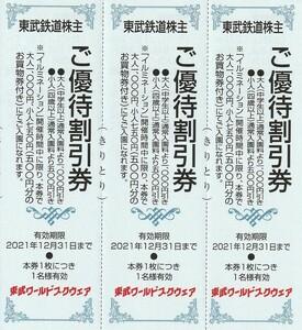 新着★東武鉄道株主★東武ワールドスクウェア★ご優待割引券★3枚セット★即決